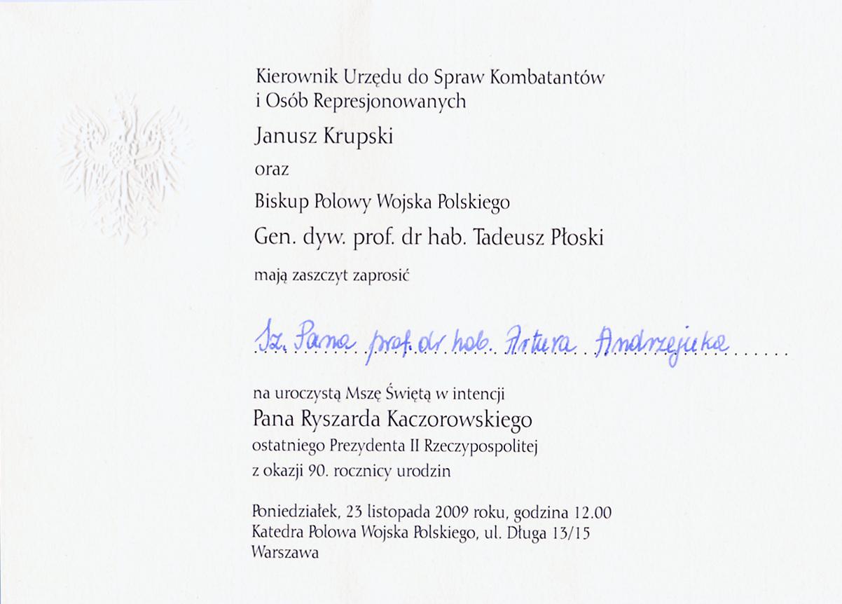 Jubileusz Prezydenta Kaczorowskiego